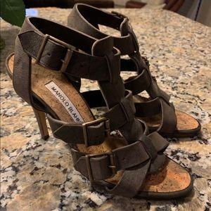 MANOLO BLAHNIK brown leather strappy heels 37 7